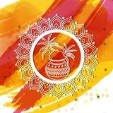 Tarjeta de felicitación para la celebración feliz de Pongal Foto de archivo libre de regalías