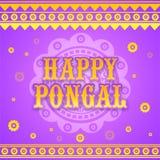 Tarjeta de felicitación para la celebración feliz de Pongal Foto de archivo