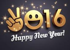 Tarjeta 2016 de felicitación para la sonrisa Foto de archivo