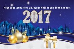 Tarjeta de felicitación 2017 para las vacaciones de invierno en lengua francesa Foto de archivo libre de regalías