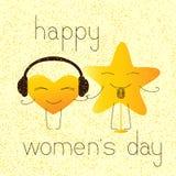 Tarjeta de felicitación para mujer feliz del día con los caracteres musicales ilustración del vector