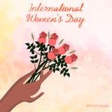 Tarjeta de felicitación para mujer internacional del día con un ramo de imagen de las flores stock de ilustración