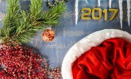 Tarjeta de felicitación para nuevo 2017 Imagen de archivo libre de regalías