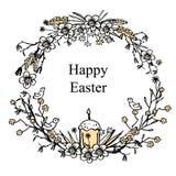 Tarjeta de felicitación para Pascua con la guirnalda floral con el huevo, el pájaro, la torta de pascua y brunches Fondo dibujado Imagen de archivo libre de regalías