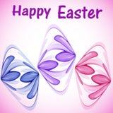Tarjeta de felicitación para Pascua con los huevos de Pascua abstractos de las flores abstractas stock de ilustración
