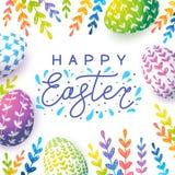 Tarjeta de felicitación de Pascua con los huevos del color libre illustration
