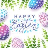 Tarjeta de felicitación de Pascua con los huevos del color ilustración del vector
