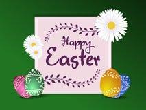 Tarjeta de felicitación de Pascua o cartel feliz del vector de la exhibición ilustración del vector