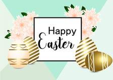 Tarjeta de felicitación de Pascua Saludo caligráfico de Pascua en huevos del oro ilustración del vector