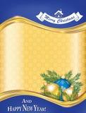 Tarjeta de felicitación por Año Nuevo y la Navidad Fotografía de archivo
