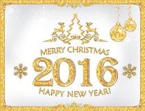 ¡Tarjeta de felicitación por el Año Nuevo 2016! Fotos de archivo