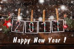 Tarjeta de felicitación por el Año Nuevo 2017 Foto de archivo libre de regalías