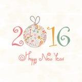 Tarjeta de felicitación por la Feliz Año Nuevo 2016 Foto de archivo libre de regalías