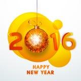 Tarjeta de felicitación por la Feliz Año Nuevo 2016 Imagenes de archivo