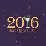 Tarjeta de felicitación por la Feliz Año Nuevo 2016 Imágenes de archivo libres de regalías