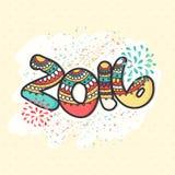 Tarjeta de felicitación por la Feliz Año Nuevo 2016 Fotografía de archivo