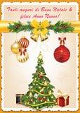 Tarjeta de felicitación preciosa italiana para las vacaciones de invierno Fotos de archivo libres de regalías