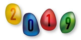 Tarjeta de felicitación 2019 que representa cuatro guijarros coloreados stock de ilustración