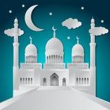 Tarjeta de felicitación de Ramadan Kareem con la mezquita y el creciente cortados de papel Ilustraci?n del vector stock de ilustración