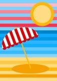 Tarjeta de felicitación rayada del paisaje de la playa libre illustration