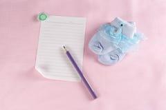 Tarjeta de felicitación recién nacida del bebé Imagen de archivo