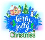 Tarjeta de felicitación redonda de Holly Jolly Imágenes de archivo libres de regalías