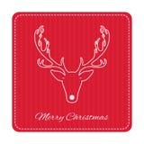 Tarjeta de felicitación retra creativa de la Feliz Navidad Ciervos divertidos del inconformista Imagen de archivo