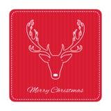 Tarjeta de felicitación retra creativa de la Feliz Navidad Ciervos divertidos del inconformista Imágenes de archivo libres de regalías