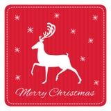 Tarjeta de felicitación retra creativa de la Feliz Navidad Ciervos divertidos del inconformista Imagen de archivo libre de regalías