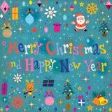 Tarjeta de felicitación retra de la Feliz Navidad y de la Feliz Año Nuevo Imágenes de archivo libres de regalías