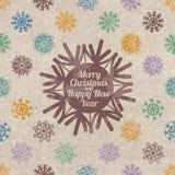 Tarjeta de felicitación retra de la Navidad con los copos de nieve Fotos de archivo
