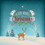 Tarjeta de felicitación retra de la Navidad del vector Foto de archivo libre de regalías