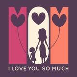 Tarjeta de felicitación retra del día de la madre feliz Vector stock de ilustración