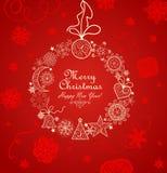 Tarjeta de felicitación roja con la guirnalda del vintage de Navidad Imágenes de archivo libres de regalías