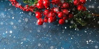 Tarjeta de felicitación roja de la caída de la nieve de la rama de la Navidad foto de archivo libre de regalías