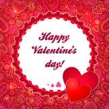 Tarjeta de felicitación roja del día de tarjetas del día de San Valentín del círculo Foto de archivo libre de regalías