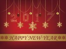 Tarjeta de felicitación roja del fondo de la Feliz Año Nuevo 2017 ilustración del vector