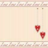Tarjeta de felicitación romántica con los corazones Imagen de archivo