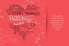 Tarjeta de felicitación romántica de la tarjeta del día de San Valentín del día feliz del ` s, cartel de la tipografía con caligr Fotografía de archivo libre de regalías
