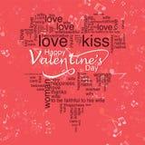 Tarjeta de felicitación romántica de la tarjeta del día de San Valentín del día feliz del ` s, cartel de la tipografía con caligr Imagen de archivo