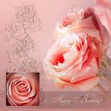Tarjeta de felicitación rosada Imagen de archivo libre de regalías
