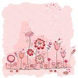 Tarjeta de felicitación rosada de las flores y de los insectos Imágenes de archivo libres de regalías