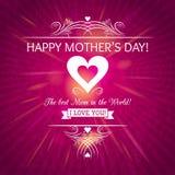 Tarjeta de felicitación rosada del día de madres con el fondo de rosas Fotografía de archivo libre de regalías