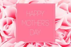 Tarjeta de felicitación rosada de rosas con día feliz del ½ s del ¿del motherï del ½ del ¿del ï de la inscripción fotografía de archivo