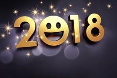 Tarjeta de felicitación sonriente de la Feliz Año Nuevo 2018 Foto de archivo libre de regalías