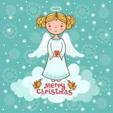 Tarjeta de felicitación, tarjeta de Navidad con ángel Foto de archivo libre de regalías