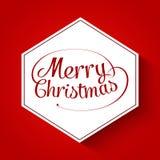 Tarjeta de felicitación tipográfica de la Feliz Navidad Imagen de archivo