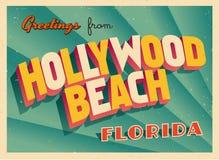 Tarjeta de felicitación turística del vintage de la playa de Hollywood, la Florida stock de ilustración