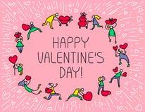 Tarjeta de felicitación de Valentine Day con la gente con símbolo de los corazones Amor Fotografía de archivo