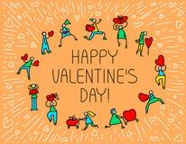 Tarjeta de felicitación de Valentine Day con la gente con símbolo de los corazones Amor Fotos de archivo libres de regalías